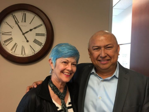 TSP's Karen McElwain colored her hair blue to show her support.